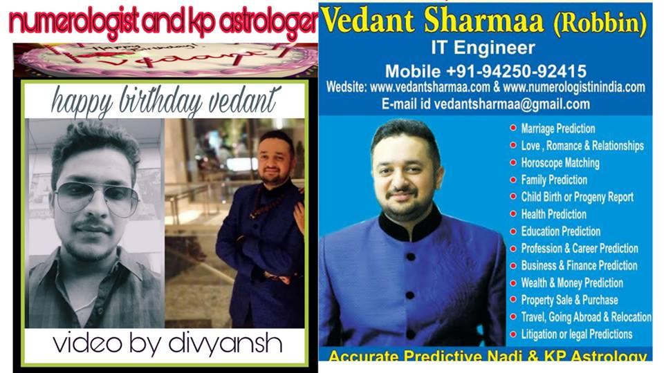 Happy Birthday Vedant Sharmaa Best Astrologer & Numerologist In India (Govinda's Fan)
