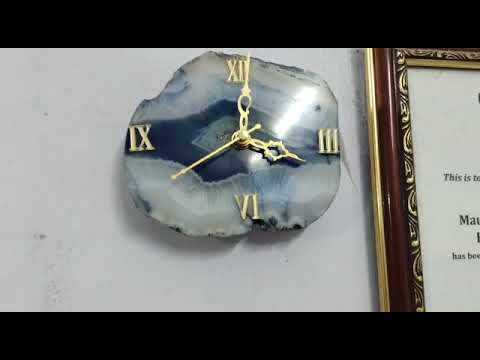 Agate slice watch use as wall clock and table clock with wooden stand 1000 rs remove negative energy